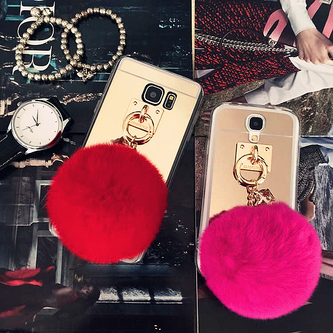 sneakers for cheap 37e07 0b1e6 Rabbit Fur Fluff Pom Pom Ball Case For Samsung Galaxy S5 (Gold)