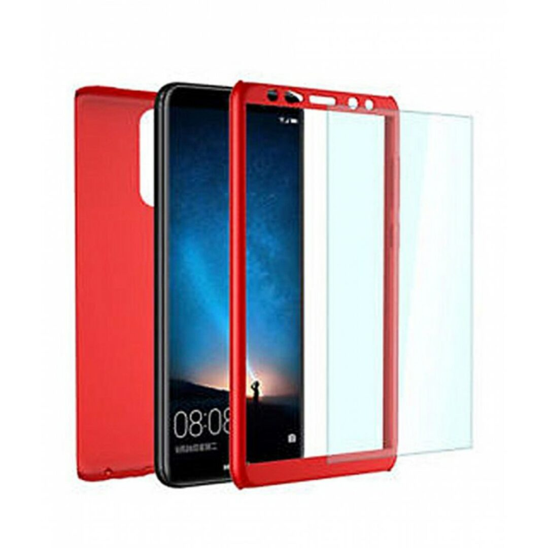 new product 590a3 e5620 360′ Full Body Plastic Cover Case with Tempered Glass for Mate 10 Lite (Red)